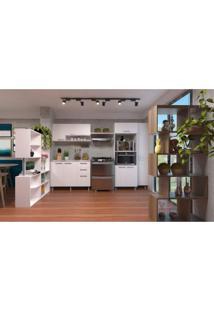 Cozinha Compacta 4 Peças Com 2 Divisores De Ambiente Siena Móveis Movelbento Branco/Rústico