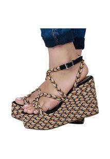 Sandália Feminina Sapato Anabela Salto Alto Confortável Leve Preta Eleganteria