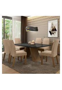 Sala De Jantar Madesa Mirela Mesa Tampo De Vidro Com 6 Cadeiras - Rustic/Preto/Imperial Marrom