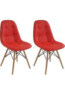 Conjunto 2 Cadeiras Eiffel Botonê Eames Dsw Vermelha