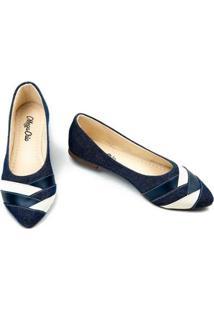 Sapatilha Jeans Megachic Feminina - Feminino-Azul