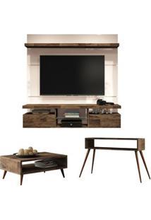Painel Tv Livin 1.6 Com Mesa De Centro Lucy E Aparador Quad Deck/Off W