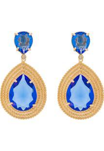 Brinco Gota Kumbayá Microesfera Semijoia Banho De Ouro 18K Cristal Azul Safira Cravejado Com Zircônias