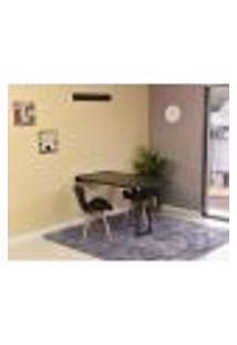 Conjunto De Mesa Dobrável Retrátil 120 X 75 Preta + 2 Cadeiras Slim - Preta