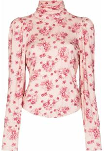 Loveshackfancy Camiseta Gola Alta Floral Vienna - Rosa