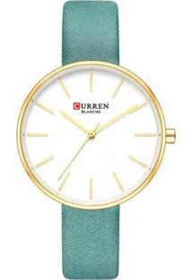 Relógio Curren Analógico C9042L Feminino - Feminino-Dourado+Verde
