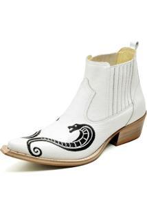 Bota Country Top Franca Shoes Bico Fino Verniz Masculino - Masculino-Branco