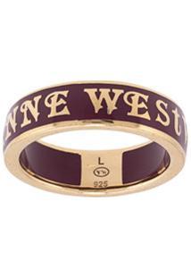 Vivienne Westwood Anel Conduit Street Com Logo - Dourado