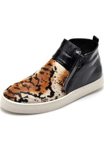 Bota Botinha Top Franca Shoes Hiate Verniz Preto Onça 4