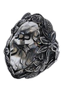 Lyly Erlandsson Silver And Grey Resin Winter Smoke Ring - Metálico
