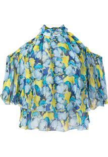 Pinko Blusa Com Estampa Floral E Recortes Nos Ombros - Azul