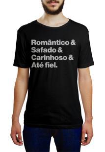 Camiseta Hunter Brisa Louca Romântico, Safado, Carinhoso E Até Fiel Preta