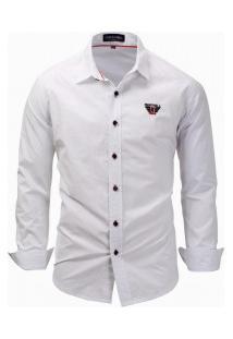Camisa Masculina Casual Manga Longa - Branco