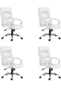 Conjunto Com 4 Cadeiras De Escritório Presidente Office Plus Branco