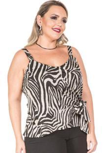 Blusa Alça Zebra Preto Plus Size