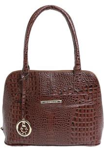 Bolsa Em Couro Croco Com Bag Charm- Marrom- 24X35X13Di Marlys