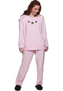 Pijama Longo De Inverno Ursinho Em Plush Feminino Luna Cuore