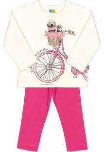 Conjunto De Blusa Bicicleta + Calã§A Reta- Branco & Pink