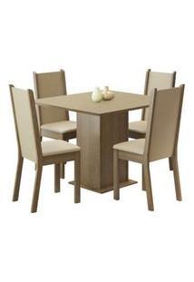 Conjunto Sala De Jantar Madesa Alana Mesa Tampo De Madeira Com 4 Cadeiras Rustic/Crema/Pérola Rustic/Crema/Pérola