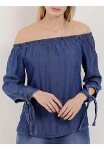 Blusa Jeans Manga ¾ Ciganinha Feminina - Feminino-Azul