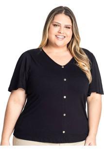 Blusa Feminina Plus Size Rovitex Com Botões Preto - G1