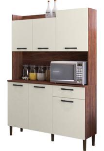 Cozinha Compacta Kit'S Paraná Genova, Nogueira / Off White