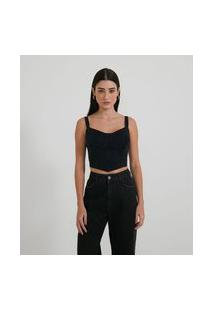 Blusa Cropped Jeans Com Recorte No Busto E Zíper Frontal
