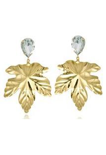 Brinco Le Diamond Folha Com Gota De Cristal Turmalina Dourado