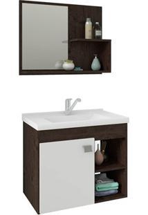 Gabinete Suspenso Para Banheiro Lótus 46X55Cm Branco E Café