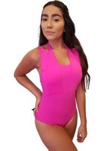 Body Lilas Tiras Pescoso - Feminino-Rosa