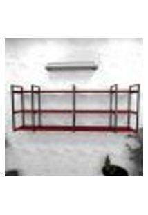 Estante Industrial Escritório Aço Cor Preto 180X30X68Cm Cxlxa Cor Mdf Vermelho Modelo Ind34Vres