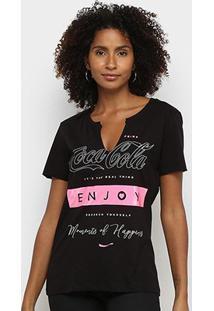 Camiseta Coca Cola Enjoy Feminina - Feminino-Preto