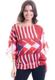 Blusa Poncho Crepe Estampado Geométrico Vermelha