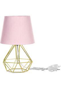 Abajur Diamante Dome Rosa Com Aramado Dourado - Rosa - Dafiti