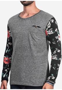 Camiseta Manga Longa Floral Bolso Interno 101497
