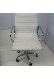Cadeira Office Outlet Estofada Baixa Branca Aluminio - 1 - Sun House