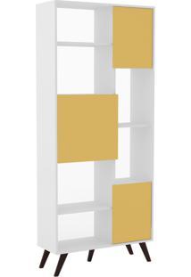 Estante Retrô 3 Portas Branco/Amarelo