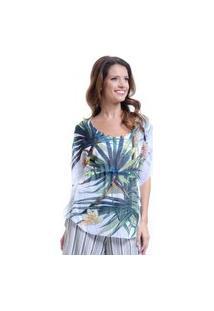 Blusa 101 Resort Wear Poncho Renda No Decote Cavado Crepe Estampado Folhas Verdes