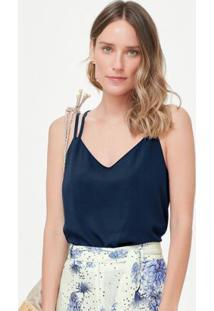 Blusa Azul Marinho Nadador Alça Dupla