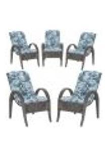 Cadeiras 5Un P/ Jardim Lazer Edicula Varanda Descanso Fibra E Tramas Napoli Plus Tabaco A06