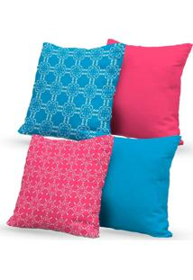 Kit 4 Capas Almofadas Decorativas Own Rosa E Azul 45X45 - Somente Capa
