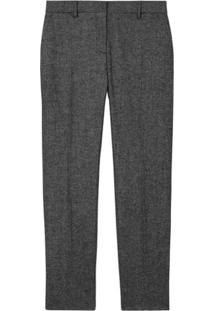Burberry Tweed Cropped Tailored Trousers - Preto