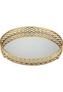 Bandeja 34Cm Dourada E Espelhada Espressione