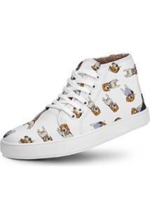 Tênis Cano Alto Usthemp Half Vegano Dog Beagle Branco
