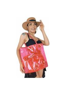 Bolsa Feminina Praia Grande Sacola Colorida Impermeável Rosa