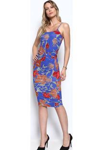 4ab2aeb89 -68% Vestido Mídi Canelado - Azul   Vermelhocolcci