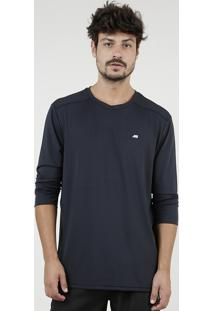 Camiseta Masculina Esportiva Ace Com Proteção Uv50+ Manga Longa Gola Redonda Preta