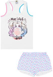 Pijama Lupo Urban Curto Feminino Arlequina Branco/Azul/Rosa
