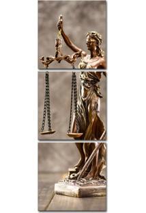Quadro Oppen House 150X50Cm Estátua Bronze Advocacia Justiça Balança