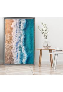Quadro Love Decor Com Moldura Chanfrada Praia Grafitti Metalizado - Grande